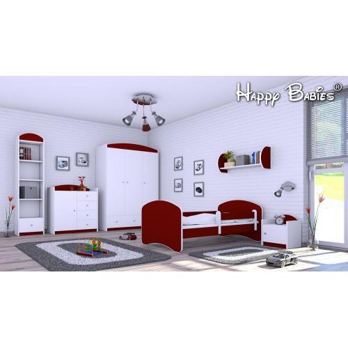Dětská postel Happy Babies se zábranou Bordó 180x90 Dětská postel