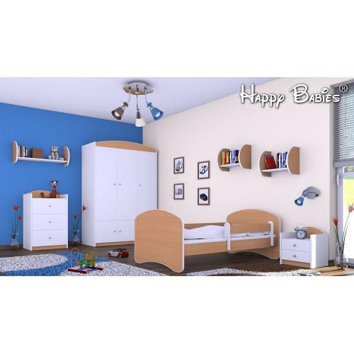 Dětská postel Happy Babies se zábranou Buk 180x90 Dětská postel