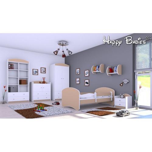 Dětská postel Happy Babies se zábranou Kapučíno 180x90 Dětská postel