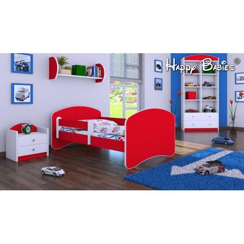 Dětská postel Happy Babies se zábranou Červená 160x80 Dětská postel