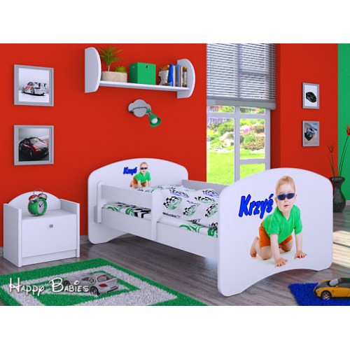 Dětská postel Happy Babies se zábranou Bílá Postel se jménem II 160x80 Dětská postel