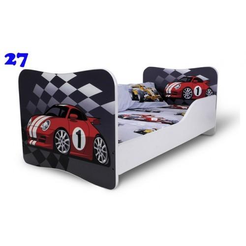 Dětská postel Adam Bílá závodní auto 160x80 Dětská postel