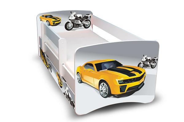 Postel Filip Bílá s bočnicí Auto - Mustang 180x80 Dětská postýlka