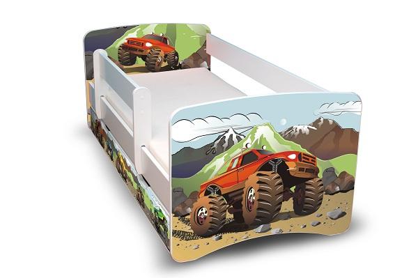Postel Filip Bílá s bočnicí Auťáky 180x90 Dětská postel