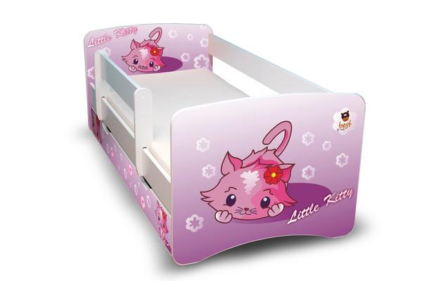 Postel Filip Bílá s bočnicí Kočička fialová 180x80 Dětská postýlka