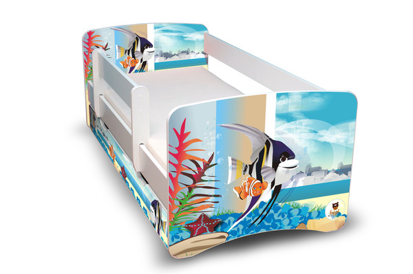Postel Filip Bíllá s bočnicí Nemo II 180x80 Dětská postýlka