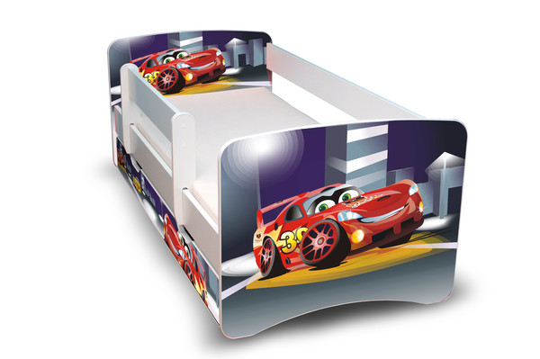 Postel Filip Bílá s bočnicí Auto III 180x90 Dětská postýlka