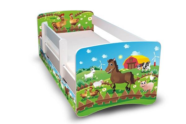 Postel Filip Bílá s bočnicí Farma 180x90 Dětská postel