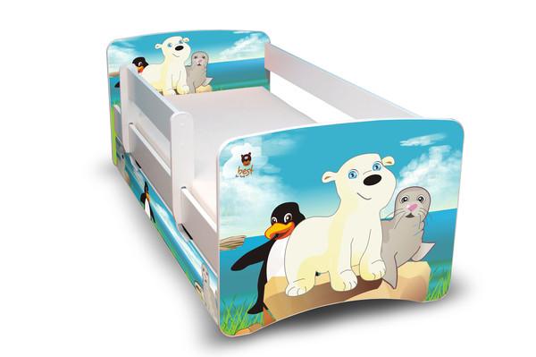 Postel Filip Bílá s bočnicí Antarktida 180x80 Dětská postel