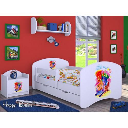 Dětská postel Happy Babies Duo Bílá s přistýlkou 05 180x90
