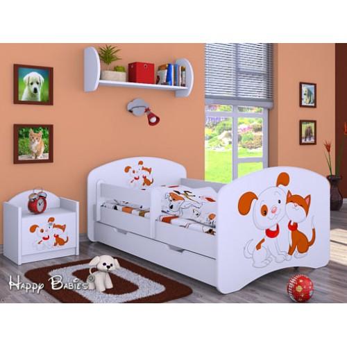 Dětská postel Happy Babies Duo Bílá s přistýlkou 64 180x90