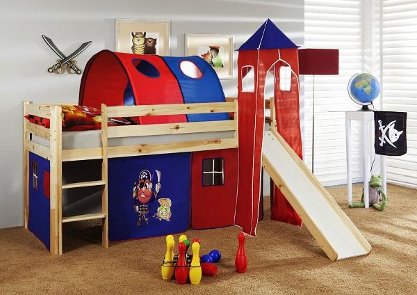 Happy Babies Vyvýšená postel + skluzavka a domeček přírodní Červenomodrá 200x90