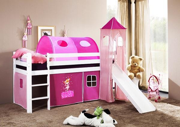 Happy Babies Vyvýšená postel + skluzavka a domeček bílá Růžová 200x90