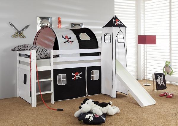 Happy Babies Vyvýšená postel + skluzavka a domeček bílá Pirát 200x90