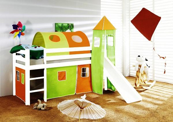 Happy Babies Vyvýšená postel + skluzavka a domeček bílá Oranžovozelená 200x90