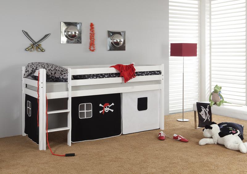 Happy Babies Vyvýšená postel s domečkem bílá pirát 200x90 Dětská postýlka