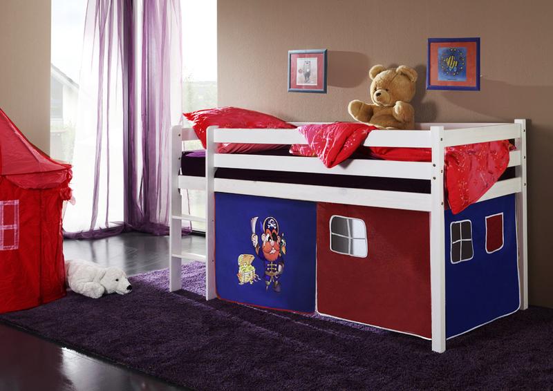 Happy Babies Vyvýšená postel s domečkem bílá červenomodrá 200x90 Dětská postýlka