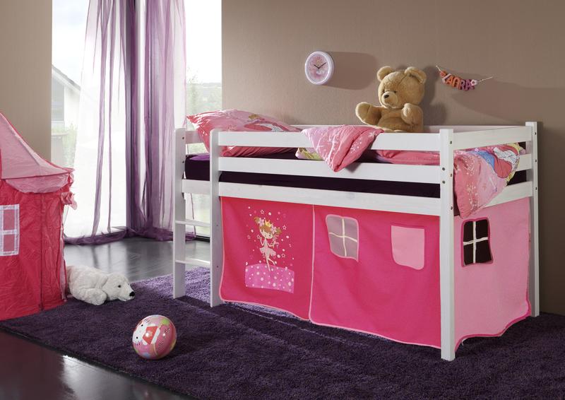 Happy Babies Vyvýšená postel s domečkem bílá růžová 200x90 Dětská postýlka