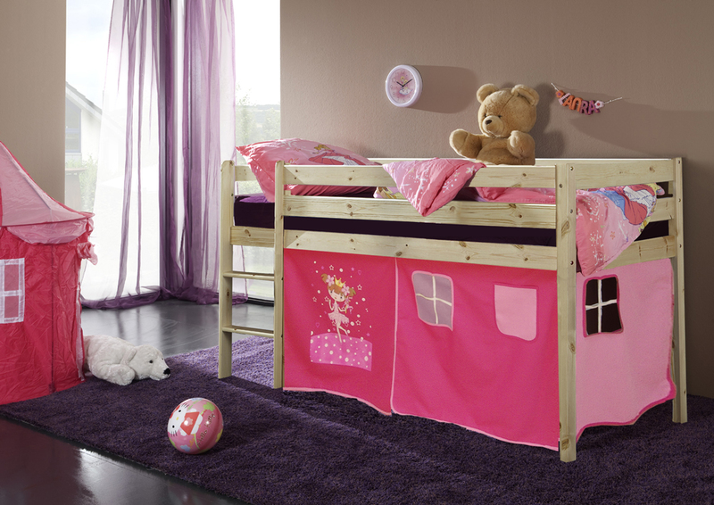 Happy Babies Vyvýšená postel s domečkem přírodní růžová 200x90 Dětská postýlka