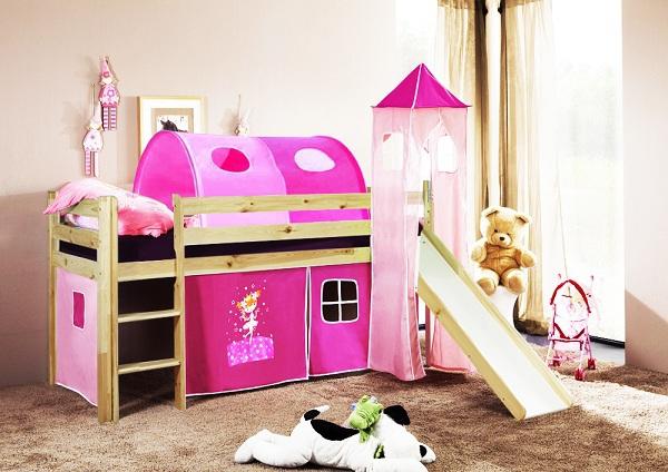 Happy Babies Vyvýšená postel + skluzavka a domeček přírodní Růžová 200x90