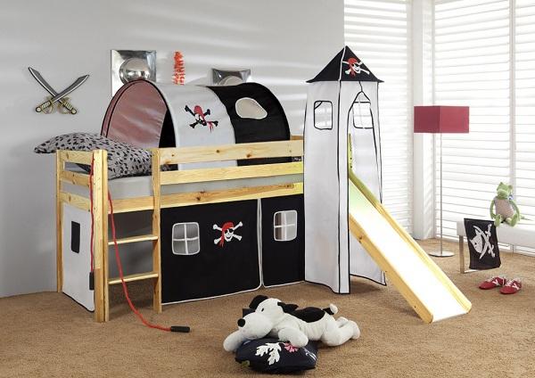 Happy Babies Vyvýšená postel + skluzavka a domeček přírodní Pirát 200x90