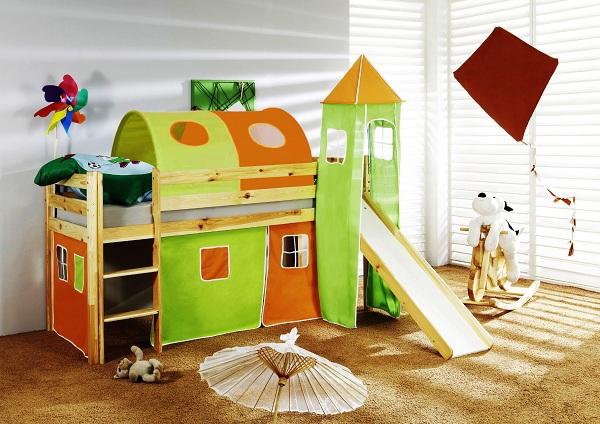 Happy Babies Vyvýšená postel+skluzavka a domeček přírodní Oranžovozelená 200x90