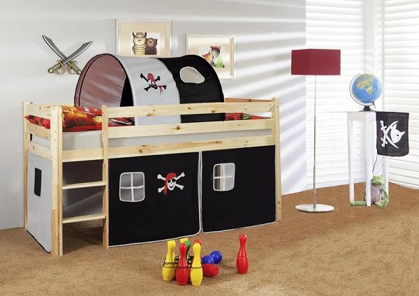 Happy Babies Vyvýšená postel s domečkem přírodní pirát 200x90 Dětská postýlka