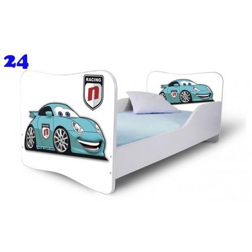 Dětská postel Adam Bílá zavodní auto modré 140x70 Dětská postel