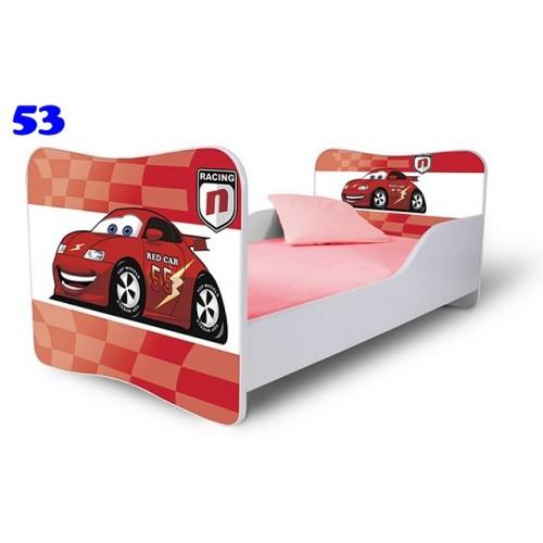 Dětská postel Adam Bílá závodní auto červená 140x70 Dětská postel