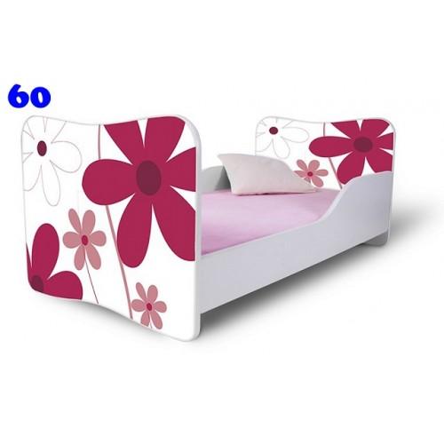 Dětská postel Adam Bílá Květiny červená bílá 140x70 Dětská postel