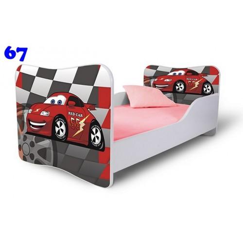 Dětská postel Adam Bílá zavodní auto šachovnice 140x70 Dětská postel