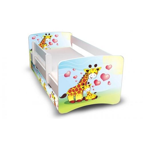 Postel Filip Bílá s bočnicí žirafy 160x70 Dětská postel