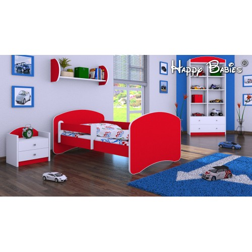 Dětská postel Happy Babies se zábranou Červená 140x70 Dětská postel
