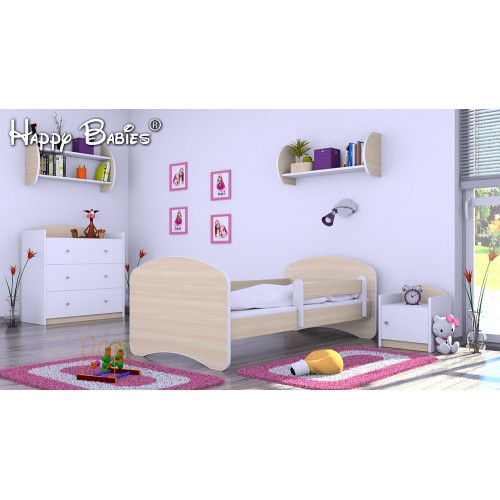 Dětská postel Happy Babies se zábranou Mléčná 140x70 Dětská postel