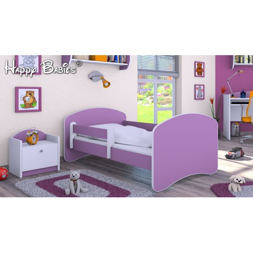 Dětská postel Happy Babies se zábranou Fialová 140x70 Dětská postel
