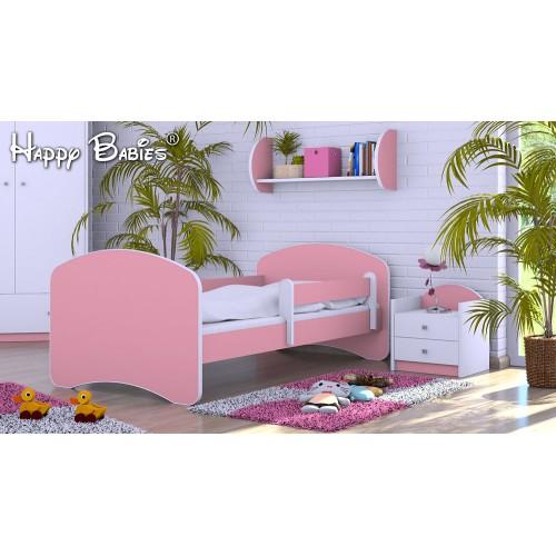 Dětská postel Happy Babies se zábranou Růžová 140x70 Dětská postel