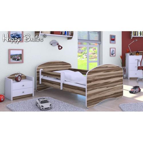Dětská postel Happy Babies se zábranou Ořech 140x70 Dětská postel