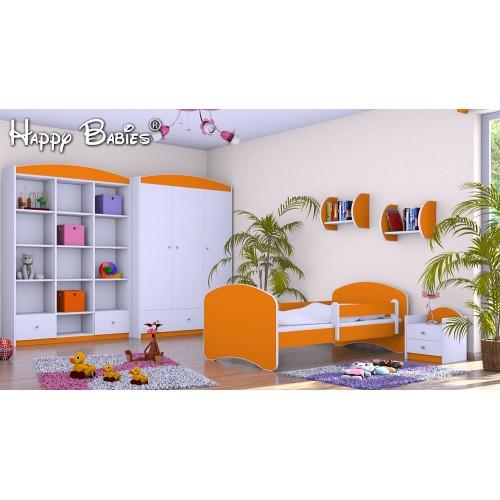Dětská postel Happy Babies se zábranou Pomerančová 140x70 Dětská postel