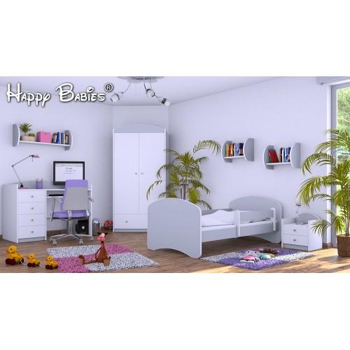 Dětská postel Happy Babies se zábranou Šedá 140x70 Dětská postel