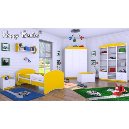 Dětská postel Happy Babies se zábranou Žlutá 140x70 Dětská postel