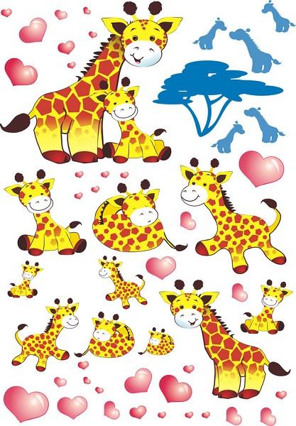 Samolepky na zeď Afrika žirafy Samolepky na zeď