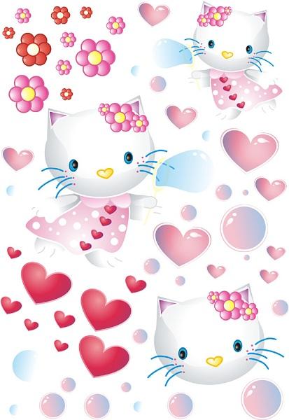 Samolepky na zeď Srdíčka a kočičky Samolepky na zeď