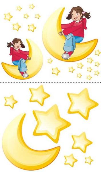 Samolepky na zeď Měsíc a hvězdy Samolepky na zeď