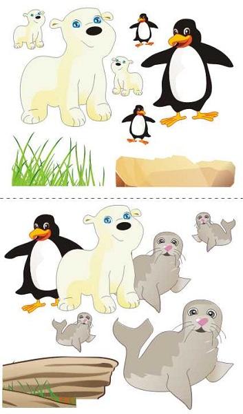 Samolepky na zeď Tuleňi a tučňáci Samolepky na zeď