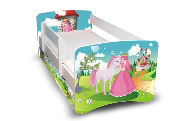 Postel Filip Bílá s bočnicí Princezny 160x70 Dětská postýlka