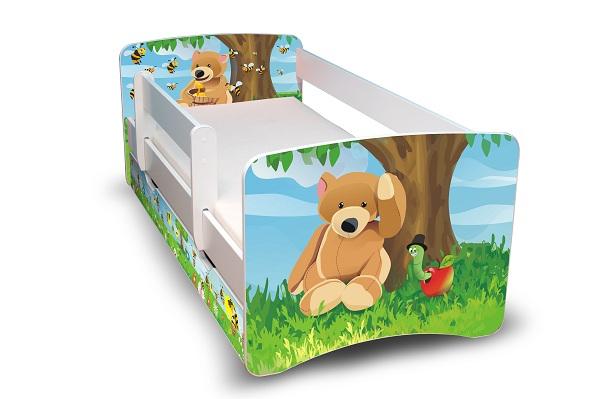 Postel Filip Bílá s bočnicí Medvídek a med 160x70 Dětská postel
