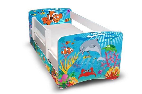 Postel Fililp Bílá s bočnicí Nemo 160x70 Dětská postýlka