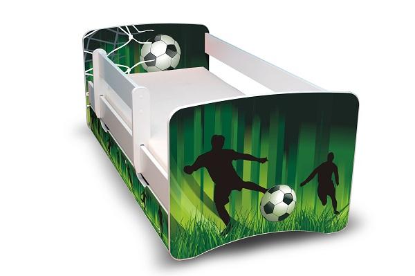 Postel Filip Bílá s bočnicí Fotbal 160x70 Dětská postýlka