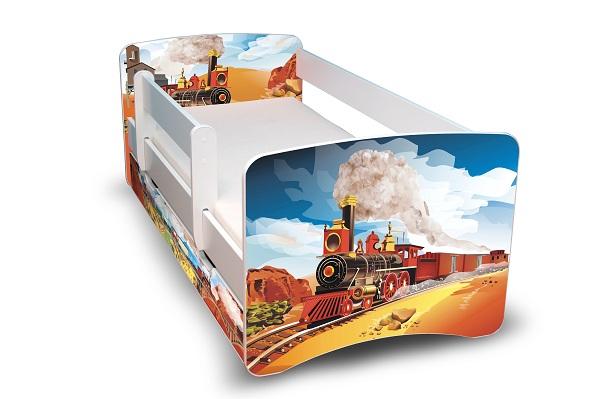 Postel Filip Bílá s bočnicí Vlak 160x70 Dětská postýlka