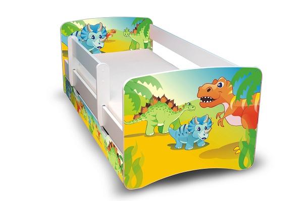 Postel Filip Bílá s bočnicí Dinosauři 160x70 Dětská postýlka